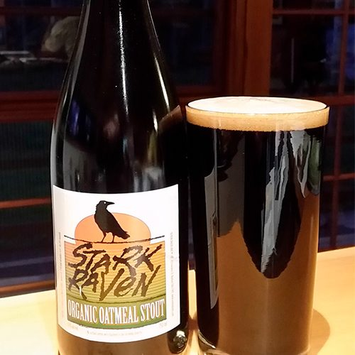 Seven Sheds Stark Raven Organic Oatmeal Stout is a black beer packaged in a 750ml bottle