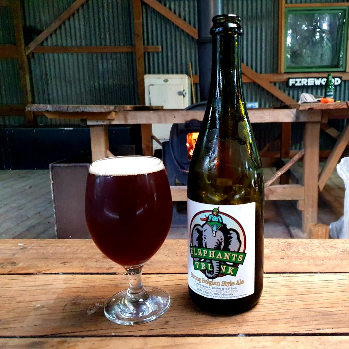 A glass of Elephants Trunk Belgian Strong Ale beside the bottle, wood fire in background
